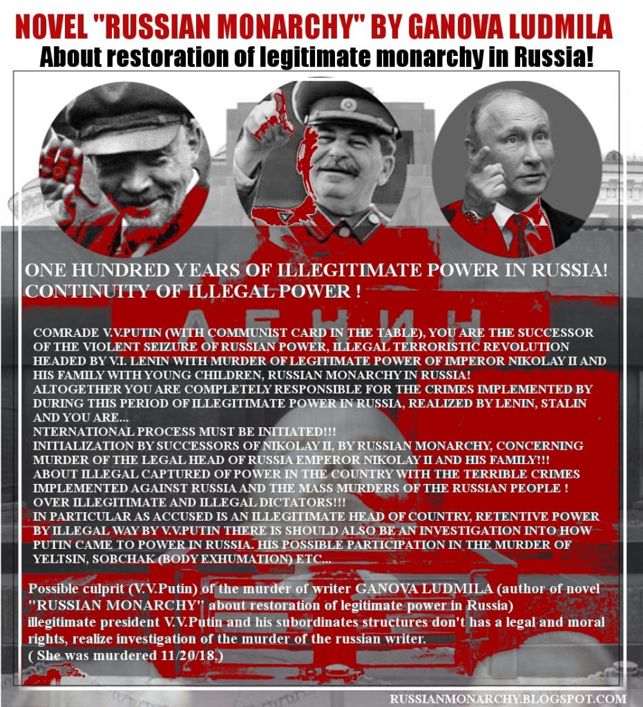 ArtCollage Novel RUSSIAN MONARCHY writer Ganova Ludmila about illegitimate power in Russia - Lenin, Stalin, Putin